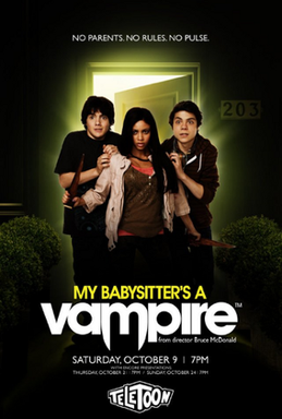 This is the cover art for My Babysitter's a Vampire. The cover art copyright is believed to belong to Teletoon.