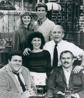 Cast of seasons one through three: left to right: (top) Shelley Long, Ted Danson; (middle) Rhea Perlman, Nicholas Colasanto; (bottom) George Wendt, John Ratzenberger Cheers original cast 1982-86 (1983).jpg