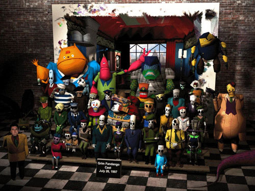 A compute image of approximately 40 characters, most skeletal figures with a few large, cartoonish characters, arranged on a series of steps, posing for the photograph; one figure is of a human face imposed onto the character.
