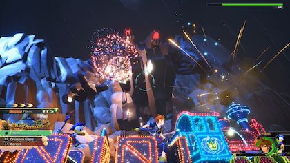 "Sora performing an ""Attraction Flow"" attack that utilizes Disney Parks attractions, a new feature for Kingdom Hearts III Kingdom Hearts III Summons Gameplay.jpg"