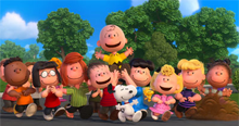 The Peanuts Movie main characters as seen in the picture (L to R): Franklin, Marcie, Peppermint Patty, Linus, Charlie Brown, Snoopy, Lucy, Woodstock, Sally, Schroeder, and Pig-Pen. Peanuts Gang 2015.png
