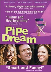 """Pipe Dream"" is written in yellow next to a movie set folding chair. Below are three photos, side by side, of smiling thirty-somethings : a blonde woman, a man and a dark-haired woman."