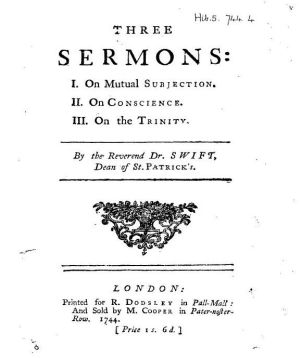 1744 title page of Swift's Three Sermons