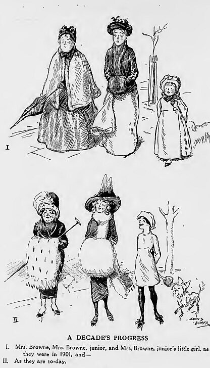 "A cartoon in Punch (1911) compares changes in fashion between 1901 and 1911. ""The dowdy voluminous clothes of the earlier date, making the grandmother an old lady and the mother seem plain, had been replaced by much simpler looser wear producing a sense of release for all three females."" Women dress-1901-1911-Punch.jpg"