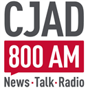 Logo of CJAD. The logo also exists with the logo on the left, and the slogan/frequency on the right.