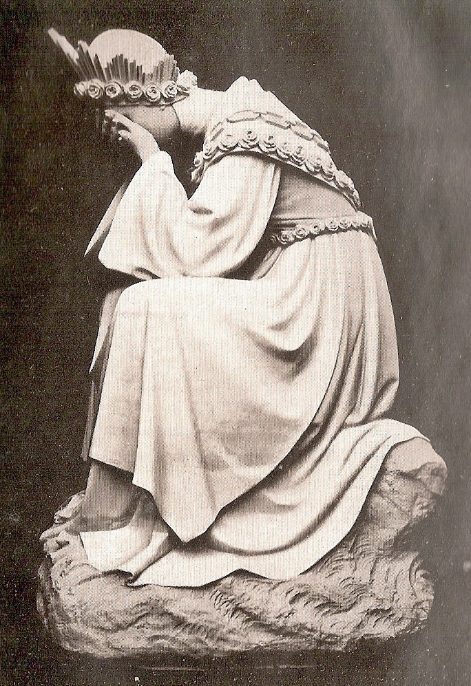 Statue of Our Lady of La Salette, sitting cryi...