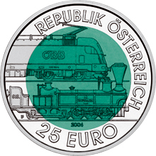 Coin with a dark green cener and a silvery outer rim. The rim reads: Republik Österreich 25 Euro, the centere shows electric and a steam driven locomotive