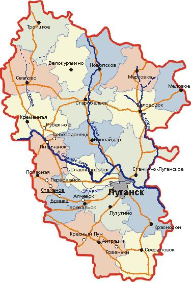 Map of the administrative subdivisions of the Luhansk Oblast.