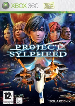 "Against a backdrop of space where two forces of starfighters dart in to engage each other, an orange-and-white starfighter, packed with weapons, flies towards the reader. Headshots of five of the game's notable characters are arrayed above the words ""Project Sylpheed"", which is emblazoned in the middle."