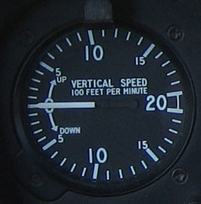 Variometer flight instrument in an aircraft used to inform the pilot of the rate of descent or climb