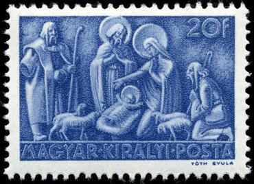 Hungarian nativity stamp, 1943 Stamp HU 1943 20f Xmas.jpg
