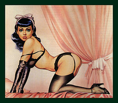 Idealized image of Bettie Page from the October 1986 back cover of Glamour International