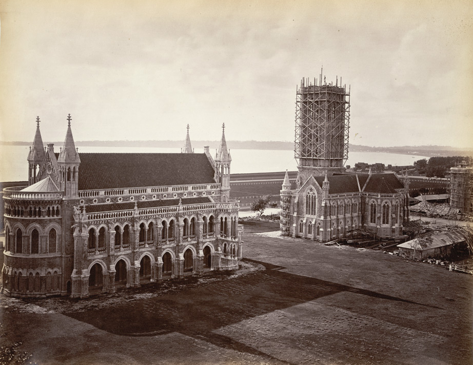 Gothic Revival Campus Of The University Mumbai India Showing Rajabai Clock Tower Still Under Construction In 1878