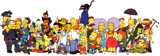 The Simpsons sports a vast array of secondary and tertiary characters. Simpsons cast.png