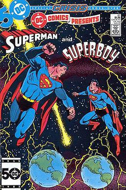 1bdedf912 Superboy-Prime's first appearance, in DC Comics Presents #87 (1985). Art by  Eduardo Barreto.