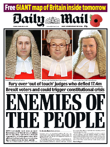 Front Cover Of The Daily Mail 4 November 2016