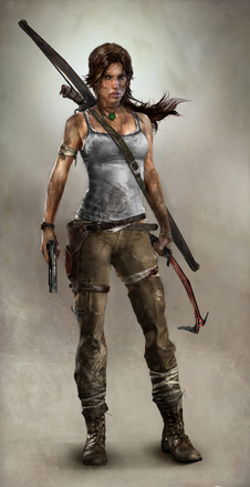 A computer-generated image of a brown-haired woman whose body faces to the right while her head is turned down towards the ground, and left hand is placed on her wounded shoulder. She wears a dirty white shirt, ripped green pants and black boots, she has several abrasions covered by cloth, and is holding a bow in her right hand.