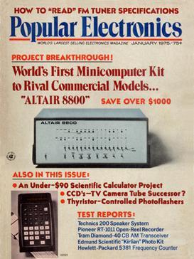 Page couverture du magazine Popular Electronics de janvier 1975