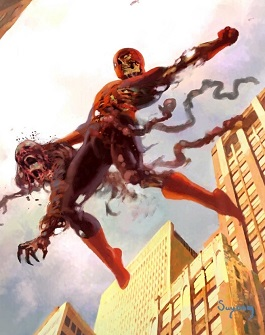 A zombified Spider-Man, a cover art homages to the original version's first appearance in Amazing Fantasy #15 (Aug. 1962). Artwork for the cover of Marvel Zombies 1 (December 2005 Marvel Comics)