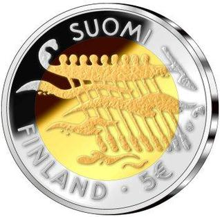 90th Anniversary of Finland's Declaration of Independence commemorative coin Independent Finland 90 years 5 euro Obverse.JPG