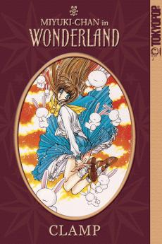 "A book cover. It shows a brunette schoolgirl falling through the air, surrounded by white rabbits. The text reads ""Miyuki-chan in Wonderland"" and ""Clamp""."