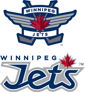 The main and initial secondary logos of the Winnipeg Jets (the wordmark at lower right has since been replaced by the script form on the current alternate jerseys). The primary logo incorporates the RCAF roundel, and was prominent on the uniforms of the Ottawa RCAF Flyers[50]
