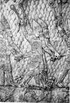 Assyrian warriors armed with slings from the palace of Sennacherib, 7th century BCE