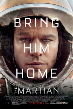"The tired and worn face of a man wearing a space suit, with the words ""Bring Him Home"" overlayed in white lettering. In smaller lettering the name ""Matt Damon"" and the title ""The Martian"""