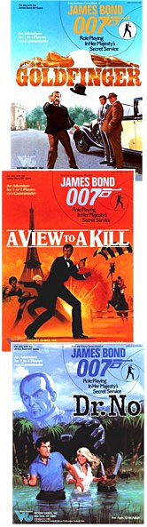 Covers of 3 adventures for the James Bond 007 role-playing game