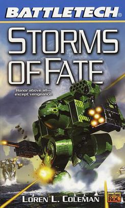 BattleMechs in combat on the cover of Storms o...
