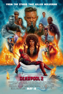 deadpool lounges on a swan boat backed by flames and multiple characters - A Country Christmas Cast