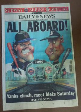 Artwork from the Daily News featuring Derek Jeter & Mike Piazza