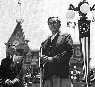 Picture of Walt Disney at the opening of Disneyland in 1955.