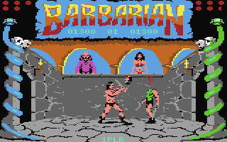 "On the left and right of the screen stands a pillar entwined with a snake. Above them, in the top corners, are circles that represent the life points of the barbarian fighters. A banner, emblazoned with the word ""Barbarian"", lies in the top centre. The players' scores are displayed below the word. The lower centre of the screen depicts a stone-walled room with two high windows. A bald man in purple robes stands in the window on the left. A black haired busty woman in a red bikini stands in the right. In the room are two loincloth-wearing men who are fighting each other with swords. The left man has chopped off the right man's head."