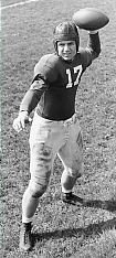 Bob Cowan pictured with a football in his hand ready to throw, from his Indiana University years