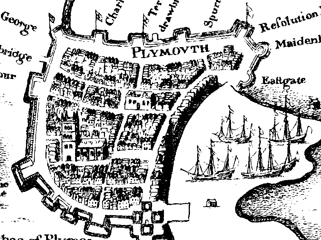 Map Of Plymouth File:Detail of map of Plymouth, Devon circa 1600.PNG   Wikipedia Map Of Plymouth