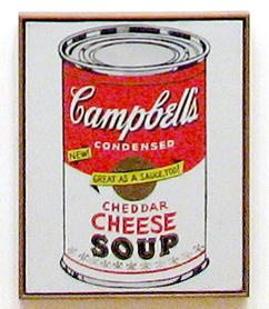 The Cheddar Cheese canvas from Andy Warhol's Campbell's Soup Cans, 1962.