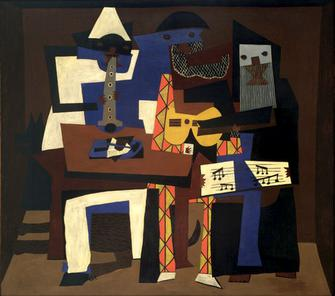 Pablo Picasso, 1921, Three Musicians, oil on canvas, 200.7 x 222.9 cm, Museum of Modern Art, New York. Acquired through the Lillie P. Bliss Bequest Picasso three musicians moma 2006.jpg