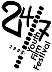 "The logo for the 24/7 Youth Film Festival.  The image background is white.  Along the top run ""24"" and ""7"" with a dotted line between them.  Running up the right side of the image is the phrase ""Youth film festival"""