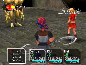 In battle, players can attack, use Elements, defend, or run away Chronocrossbattlescreenshot.png