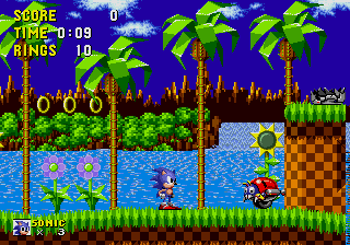 A typical in-game screenshot, taken from the first level, Green Hill Zone MD Sonic the Hedgehog.png