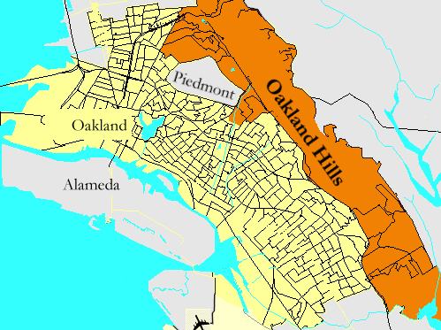 Oakland Neighborhood Map Oakland Hills, Oakland, California   Wikipedia