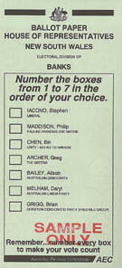 A sample ballot paper from NSW for the House of Representatives. Australian House of Representatives Ballot Paper.jpg