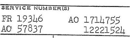 A collection of service numbers from a United States Air Force officer's service record. From left to right (top to bottom): A Regular Air Force officer number, an Army Air Forces Reserve officer number, a Regular Army (Air Corps) officer number, and a Regular Army enlisted number.