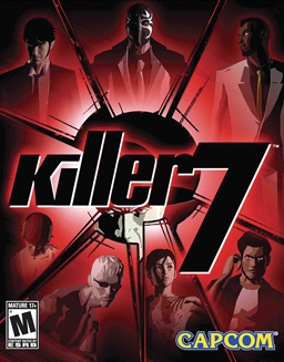 "Artwork of a vertical rectangular box that is predominately red and black. The seven main characters of the game are arrayed in a circle around the text ""Killer7"" while an eighth character peeks from behind the text."