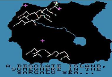 The opening gameplay screen from Odyssey. The purple crosses represent towns. The player's avatar can be seen top-centre. OdysseyGame.jpg