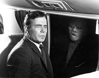"William Shatner and the Gremlin in The Twilight Zone episode ""Nightmare at 20,000 Feet"" (1963). PubTThou01.jpg"