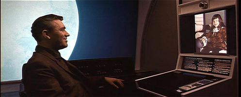 This famous scene of Dr. Heywood Floyd in the 1968 film 2001: A Space Odyssey placing a videocall to his daughter on Earth helped popularize the videophone just as AT&T began to commercialize its Picturephone (1968) On Space Station V, Dr. Heywood Floyd places a videocall to his daughter on Earth.jpg