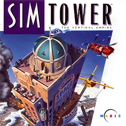 A video game cover art. A skyscraper is in the foreground; fire is coming out of one of its floors, and a helicopter flies towards the building.