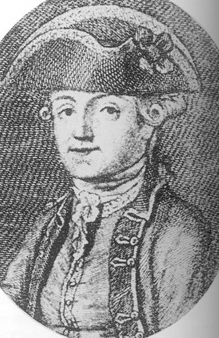 "An engraving of Byron's father, Captain John ""Mad Jack"" Byron, date unknown CaptainByron.jpg"